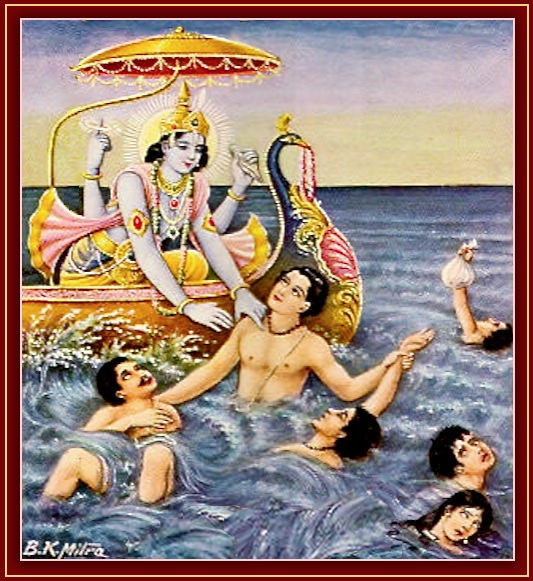 Krishna saves from the ocean